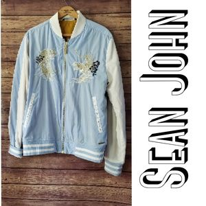 Sean John baby blue jacket sz XL tiger embroidered